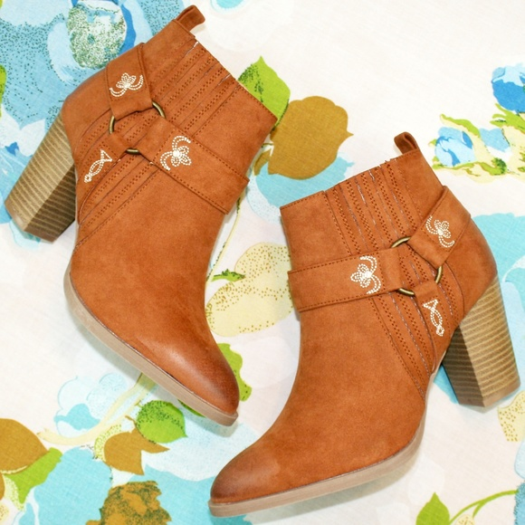 Qupid Shoes - Embroidered & Harness Detailed Ankle Boot NIB